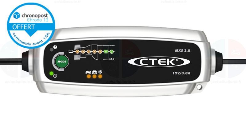 CHARGEUR CTEK 3.8AH 12V FLOATING POUR BATTERIE PLOMB MOTO