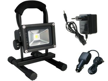 projecteur led 10w 12v 900 lumens rechargeable sur pied. Black Bedroom Furniture Sets. Home Design Ideas