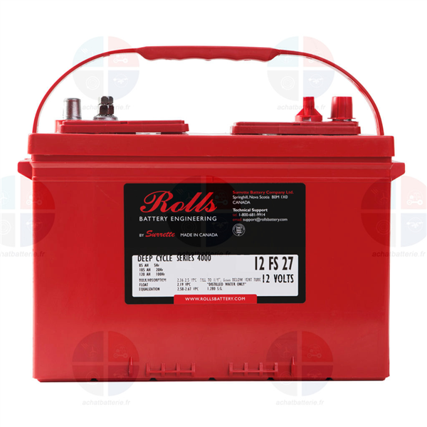 Batterie Rolls 12 FS 27 12V 105ah C20h semi traction décharge lente
