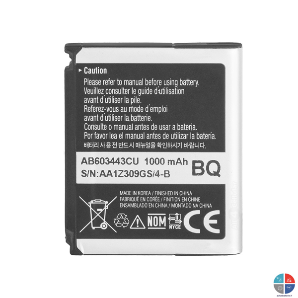 Batterie SAMSUNG Origine AB603443CU Player One S5230 et G800