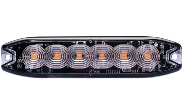 Feu de pénétration orange extra plat 6 Leds 12/24V IP67